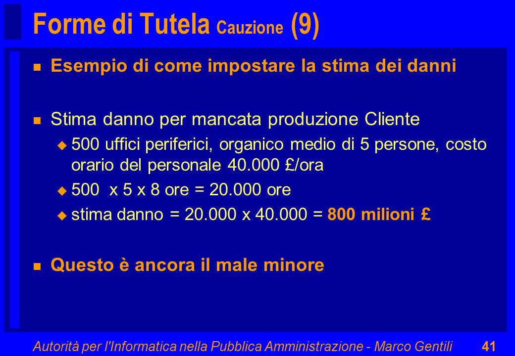 Autorità per l'Informatica nella Pubblica Amministrazione - Marco Gentili41 Forme di Tutela Cauzione (9) n Esempio di come impostare la stima dei dann