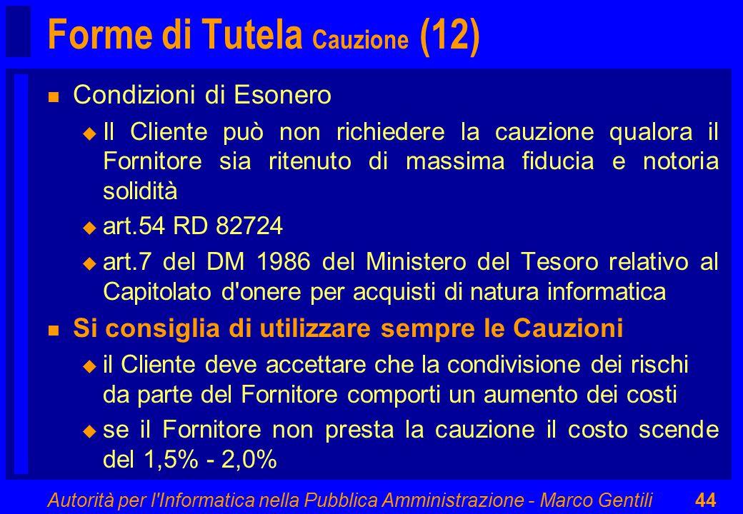 Autorità per l'Informatica nella Pubblica Amministrazione - Marco Gentili44 Forme di Tutela Cauzione (12) n Condizioni di Esonero u Il Cliente può non