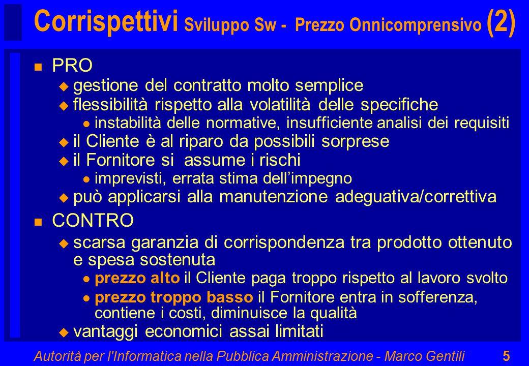 Autorità per l'Informatica nella Pubblica Amministrazione - Marco Gentili5 Corrispettivi Sviluppo Sw - Prezzo Onnicomprensivo (2) n PRO u gestione del
