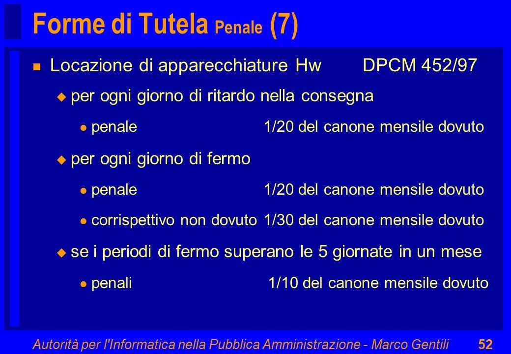 Autorità per l'Informatica nella Pubblica Amministrazione - Marco Gentili52 Forme di Tutela Penale (7) n Locazione di apparecchiature HwDPCM 452/97 u