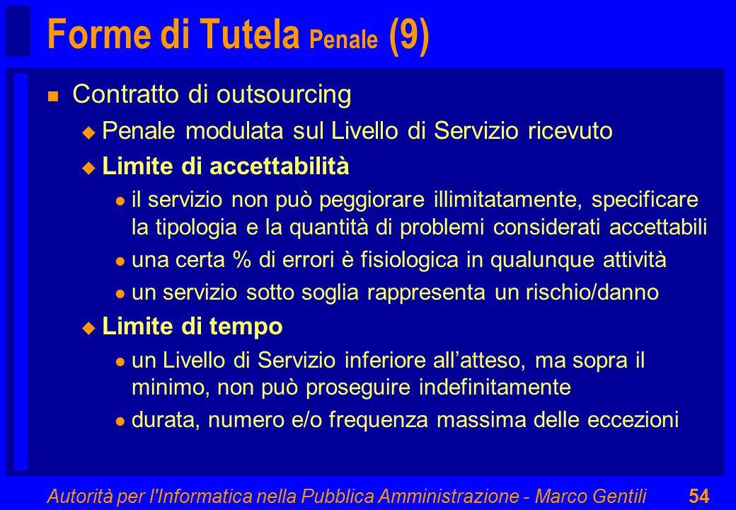 Autorità per l'Informatica nella Pubblica Amministrazione - Marco Gentili54 Forme di Tutela Penale (9) n Contratto di outsourcing u Penale modulata su