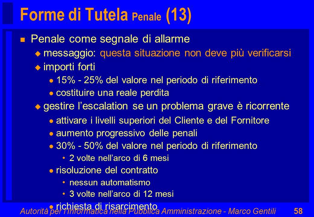 Autorità per l'Informatica nella Pubblica Amministrazione - Marco Gentili58 Forme di Tutela Penale (13) n Penale come segnale di allarme u messaggio: