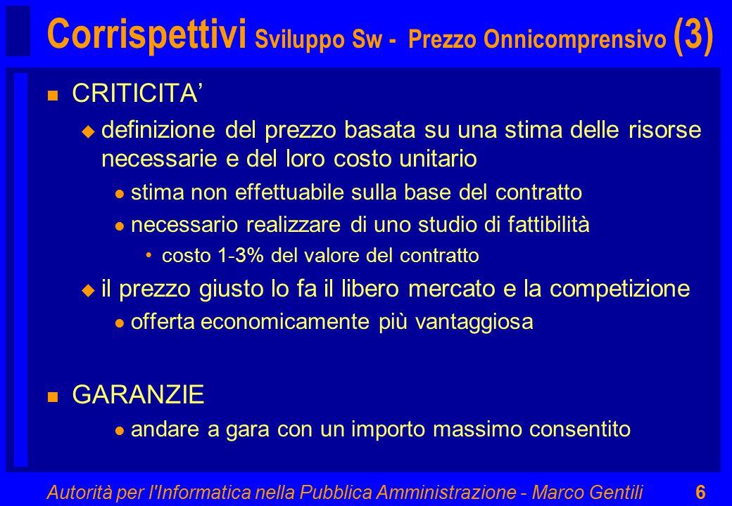 Autorità per l'Informatica nella Pubblica Amministrazione - Marco Gentili6 Corrispettivi Sviluppo Sw - Prezzo Onnicomprensivo (3) n CRITICITA' u defin