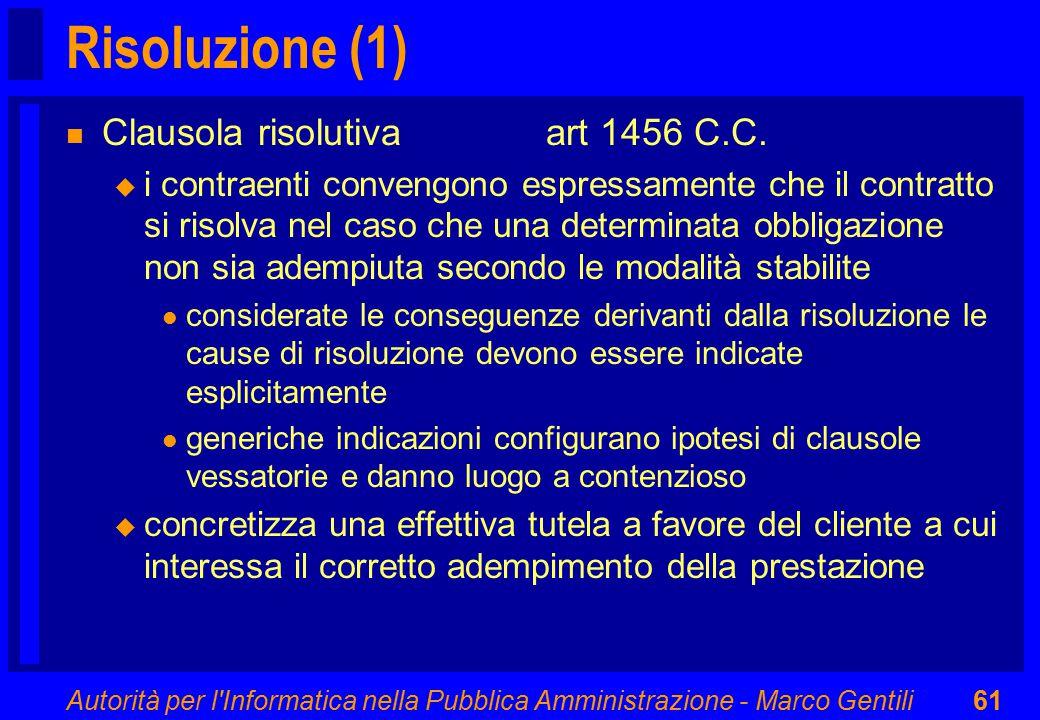 Autorità per l Informatica nella Pubblica Amministrazione - Marco Gentili61 Risoluzione (1) n Clausola risolutiva art 1456 C.C.