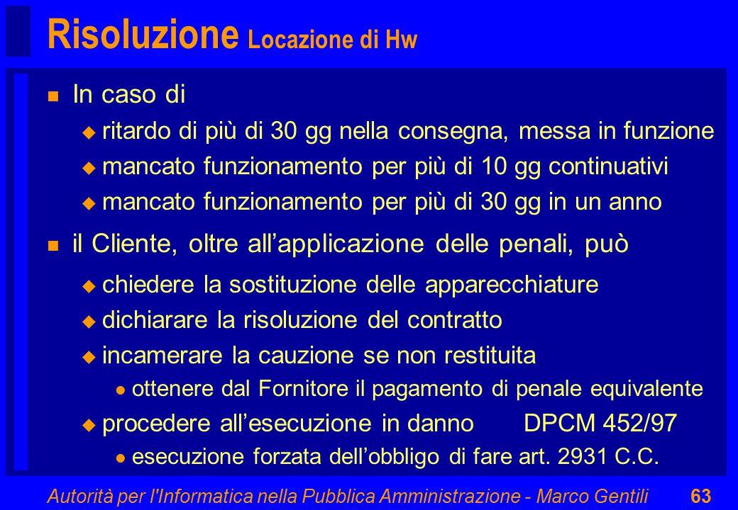 Autorità per l'Informatica nella Pubblica Amministrazione - Marco Gentili63 Risoluzione Locazione di Hw n In caso di u ritardo di più di 30 gg nella c