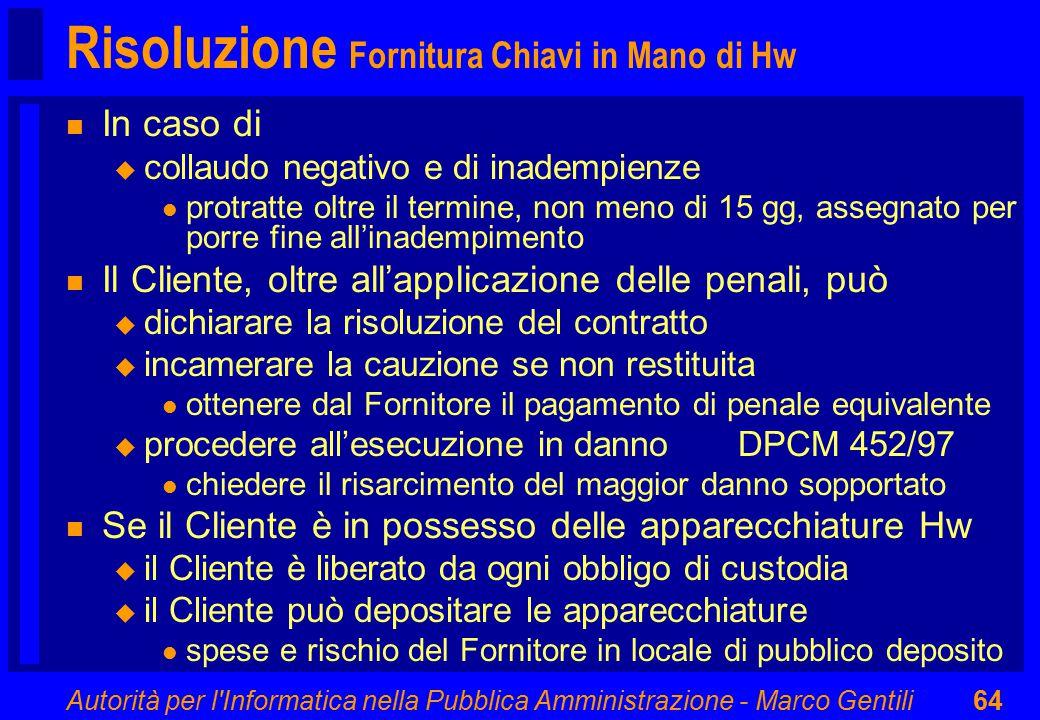 Autorità per l'Informatica nella Pubblica Amministrazione - Marco Gentili64 Risoluzione Fornitura Chiavi in Mano di Hw n In caso di u collaudo negativ
