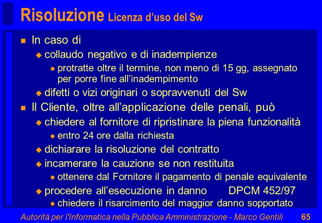 Autorità per l'Informatica nella Pubblica Amministrazione - Marco Gentili65 Risoluzione Licenza d'uso del Sw n In caso di u collaudo negativo e di ina