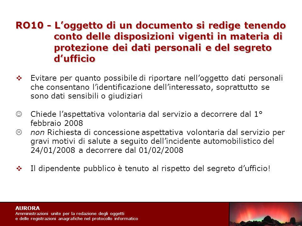 AURORA Amministrazioni unite per la redazione degli oggetti e delle registrazioni anagrafiche nel protocollo informatico RO11 - L'oggetto non deve contenere riferimenti normativi muti o richiami non espliciti  I riferimenti normativi non sono l'oggetto del documento.