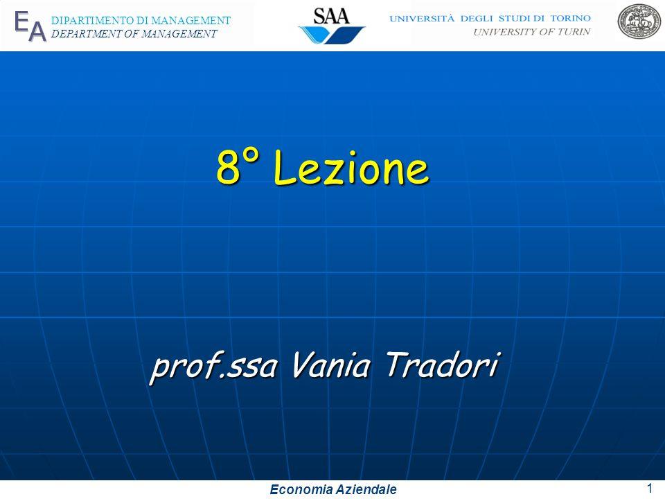Economia Aziendale DIPARTIMENTO DI MANAGEMENT DEPARTMENT OF MANAGEMENT 8° Lezione prof.ssa Vania Tradori 1