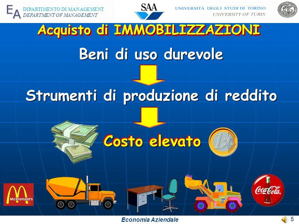 Economia Aziendale DIPARTIMENTO DI MANAGEMENT DEPARTMENT OF MANAGEMENT 5 Acquisto di IMMOBILIZZAZIONI Beni di uso durevole Strumenti di produzione di reddito Costo elevato