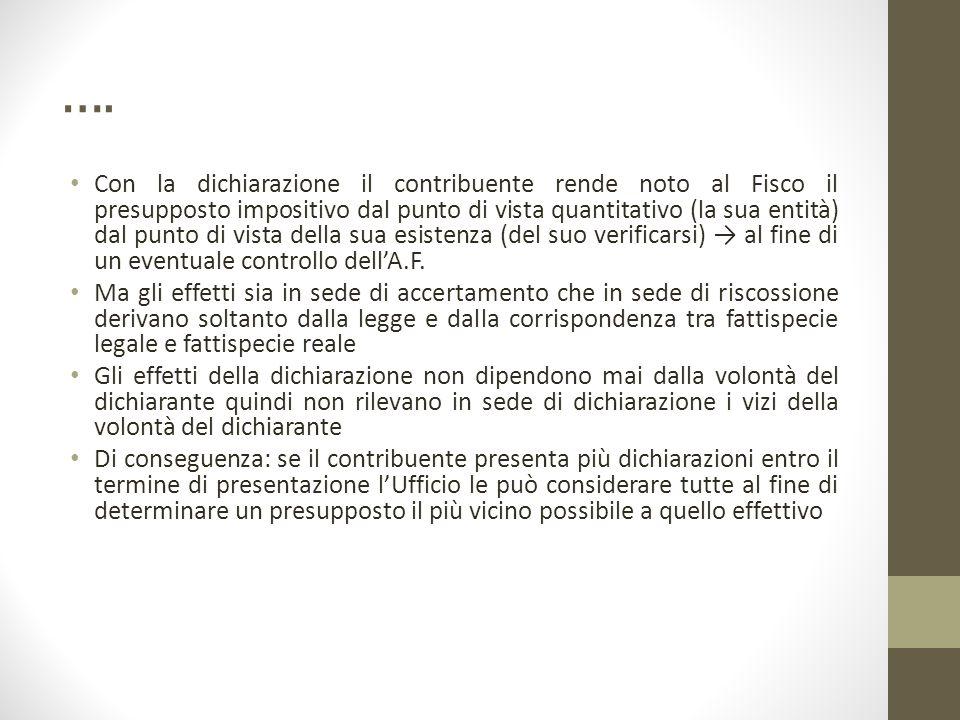 …. Con la dichiarazione il contribuente rende noto al Fisco il presupposto impositivo dal punto di vista quantitativo (la sua entità) dal punto di vis