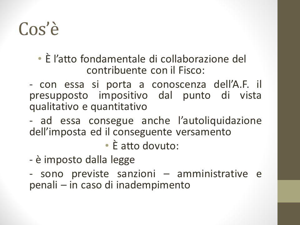 Cos'è È l'atto fondamentale di collaborazione del contribuente con il Fisco: - con essa si porta a conoscenza dell'A.F.