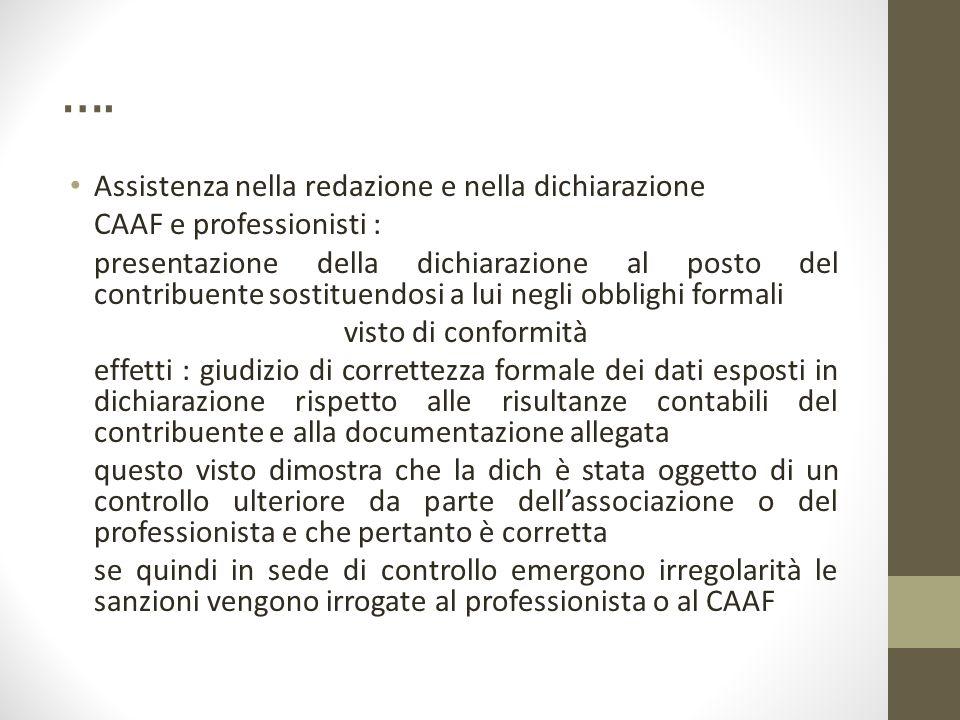 …. Assistenza nella redazione e nella dichiarazione CAAF e professionisti : presentazione della dichiarazione al posto del contribuente sostituendosi