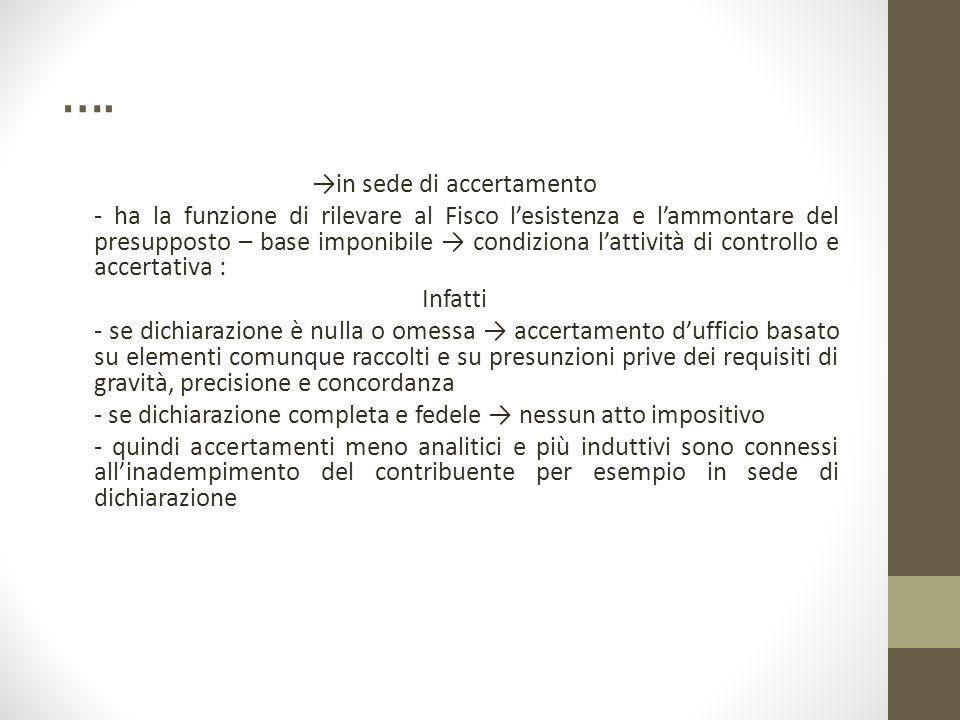 …. →in sede di accertamento - ha la funzione di rilevare al Fisco l'esistenza e l'ammontare del presupposto – base imponibile → condiziona l'attività