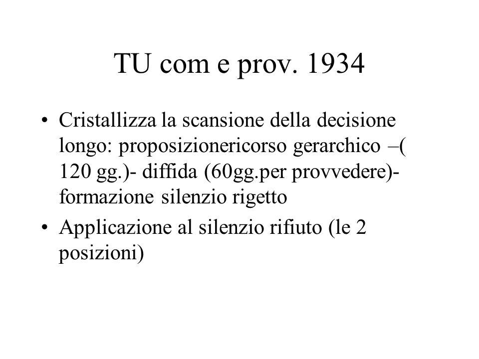 TU com e prov. 1934 Cristallizza la scansione della decisione longo: proposizionericorso gerarchico –( 120 gg.)- diffida (60gg.per provvedere)- formaz