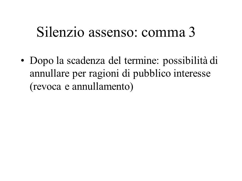 Silenzio assenso: comma 3 Dopo la scadenza del termine: possibilità di annullare per ragioni di pubblico interesse (revoca e annullamento)