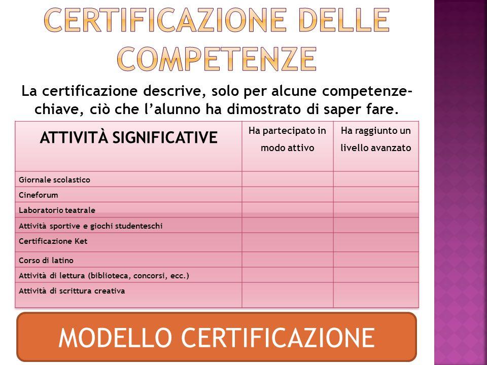 La certificazione descrive, solo per alcune competenze- chiave, ciò che l'alunno ha dimostrato di saper fare.