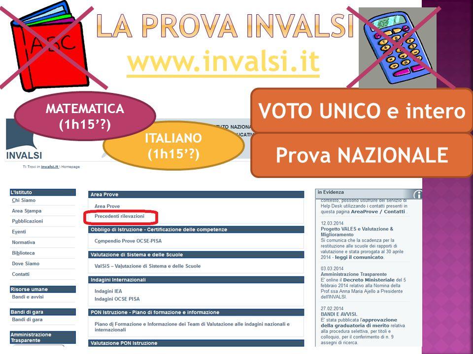 www.invalsi.it VOTO UNICO e intero ITALIANO (1h15' ) MATEMATICA (1h15' ) Prova NAZIONALE