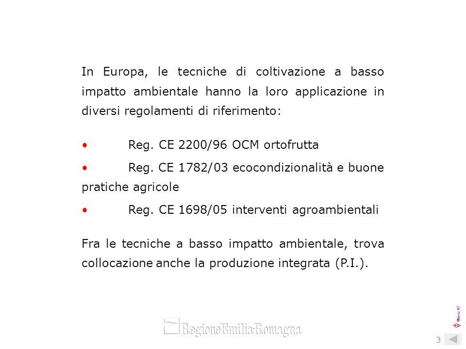 Marco_07 4 La diffusione della P.I. nel settore ortofrutticolo delle Regioni socie.