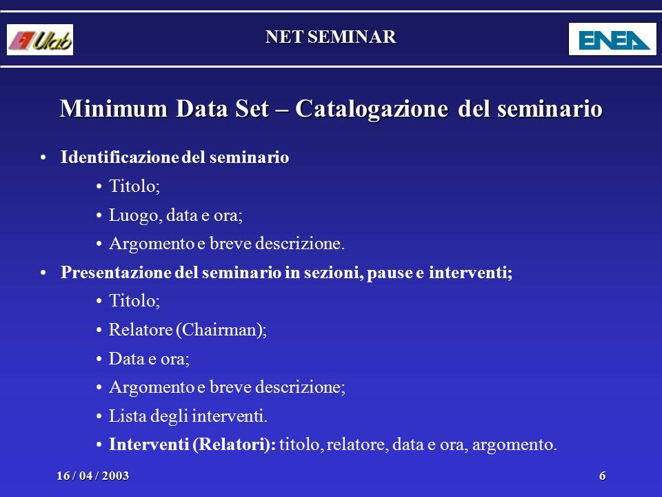 NET SEMINAR 16 / 04 / 20036 Minimum Data Set – Catalogazione del seminario Identificazione del seminario Titolo; Luogo, data e ora; Argomento e breve descrizione.