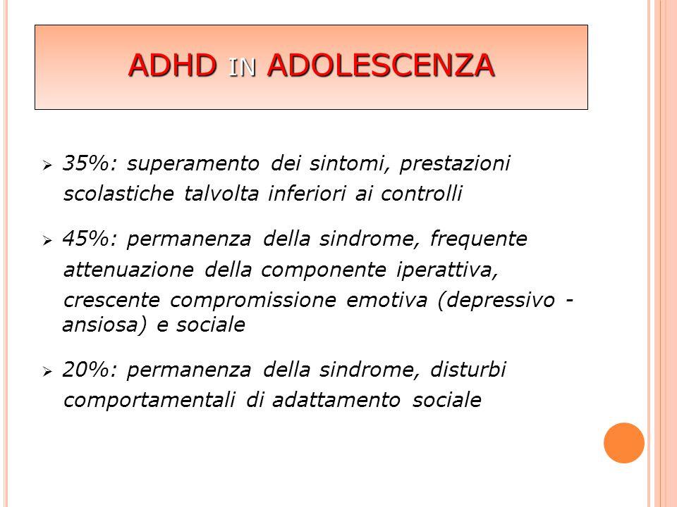  35%: superamento dei sintomi, prestazioni scolastiche talvolta inferiori ai controlli  45%: permanenza della sindrome, frequente attenuazione della