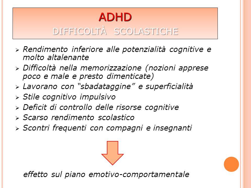  Rendimento inferiore alle potenzialità cognitive e molto altalenante  Difficoltà nella memorizzazione (nozioni apprese poco e male e presto dimenti