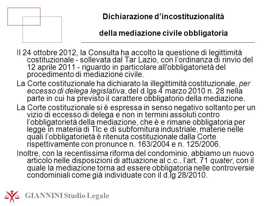 Dichiarazione d'incostituzionalità della mediazione civile obbligatoria Il 24 ottobre 2012, la Consulta ha accolto la questione di legittimità costitu