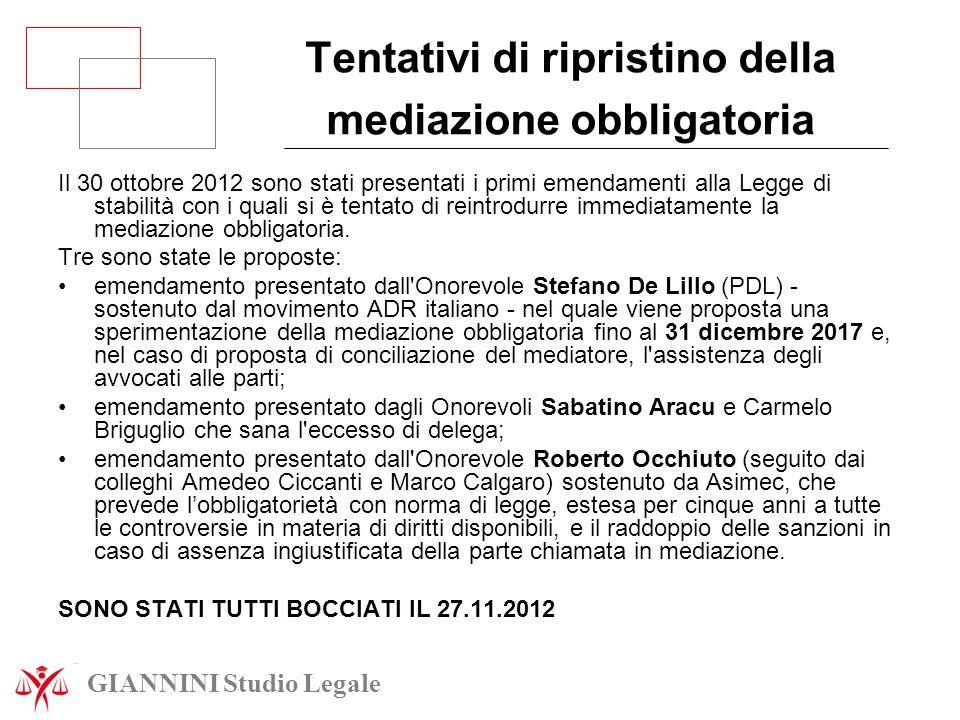 Tentativi di ripristino della mediazione obbligatoria Il 30 ottobre 2012 sono stati presentati i primi emendamenti alla Legge di stabilità con i quali