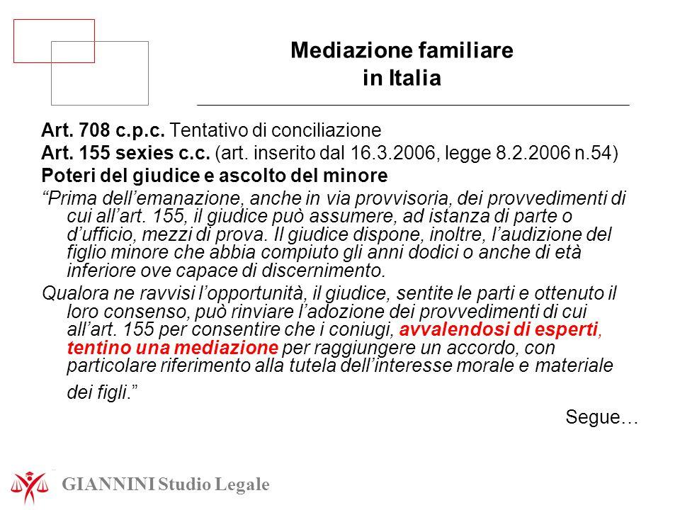 Mediazione familiare in Italia Art. 708 c.p.c. Tentativo di conciliazione Art. 155 sexies c.c. (art. inserito dal 16.3.2006, legge 8.2.2006 n.54) Pote