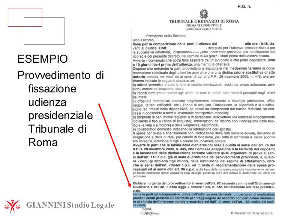ESEMPIO Provvedimento di fissazione udienza presidenziale Tribunale di Roma