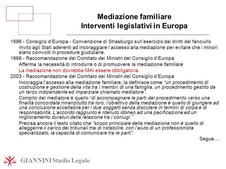 Mediazione familiare Interventi legislativi in Europa 1996 - Consiglio d'Europa - Convenzione di Strasburgo sull'esercizio dei diritti del fanciullo I