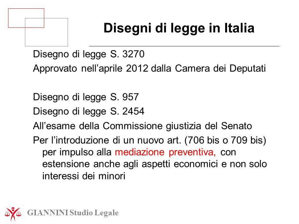 Disegni di legge in Italia Disegno di legge S. 3270 Approvato nell'aprile 2012 dalla Camera dei Deputati Disegno di legge S. 957 Disegno di legge S. 2