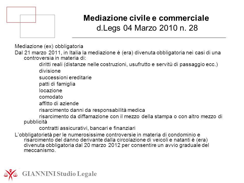 Mediazione civile e commerciale d.Legs 04 Marzo 2010 n. 28 Mediazione (ex) obbligatoria Dal 21 marzo 2011, in Italia la mediazione è (era) divenuta ob