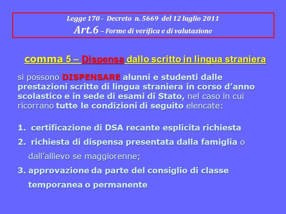 Legge 170 - Decreto n. 5669 del 12 luglio 2011 Art.6 – Forme di verifica e di valutazione comma 5 – Dispensa dallo scritto in lingua straniera si poss