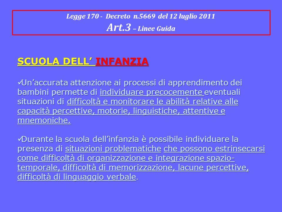 Legge 170 - Decreto n.5669 del 12 luglio 2011 Art.3 – Linee Guida SCUOLA DELL' INFANZIA Un'accurata attenzione ai processi di apprendimento dei bambin