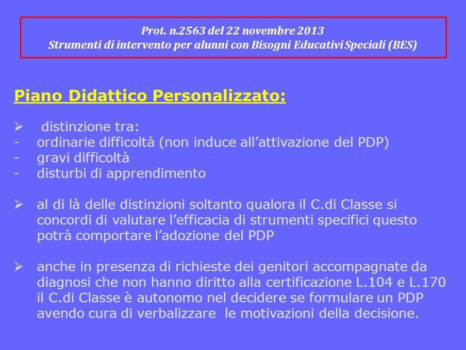 Prot. n.2563 del 22 novembre 2013 Strumenti di intervento per alunni con Bisogni Educativi Speciali (BES) Piano Didattico Personalizzato:  distinzion