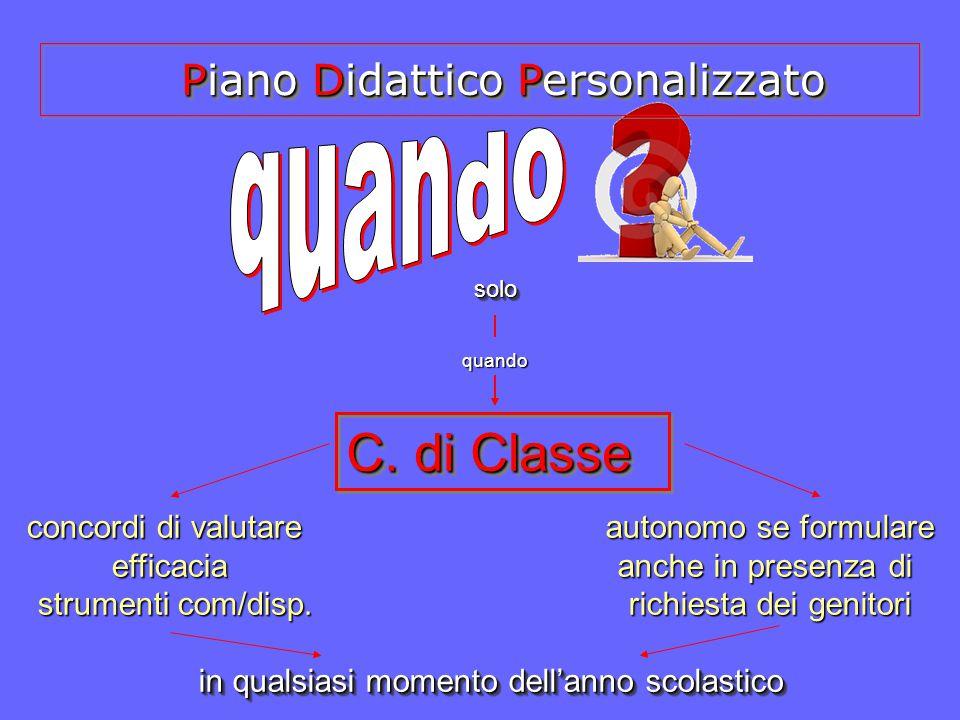 C. di Classe C. di Classe solosolo quando concordi di valutare efficacia strumenti com/disp. strumenti com/disp. autonomo se formulare anche in presen
