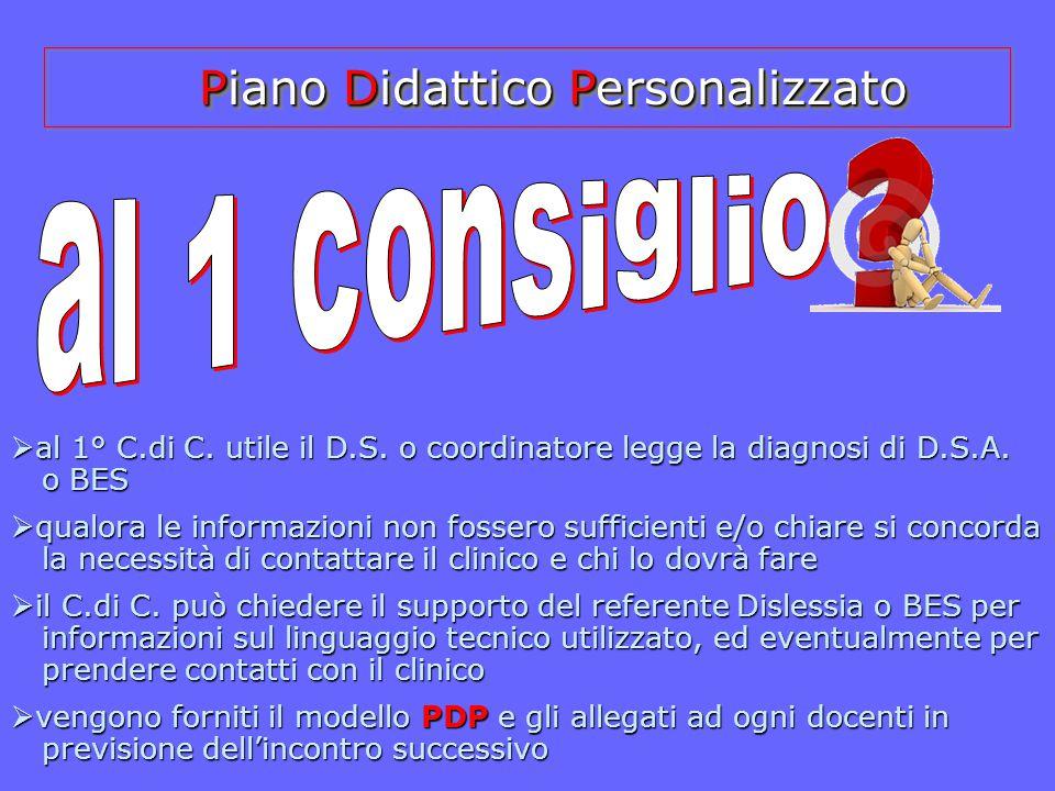  a a a al 1° C.di C. utile il D.S. o coordinatore legge la diagnosi di D.S.A. o BES  q q q qualora le informazioni non fossero sufficienti e/o
