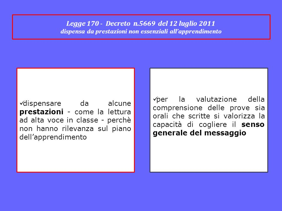 Legge 170 - Decreto n.5669 del 12 luglio 2011 dispensa da prestazioni non essenziali all'apprendimento dispensare da alcune prestazioni - come la lett