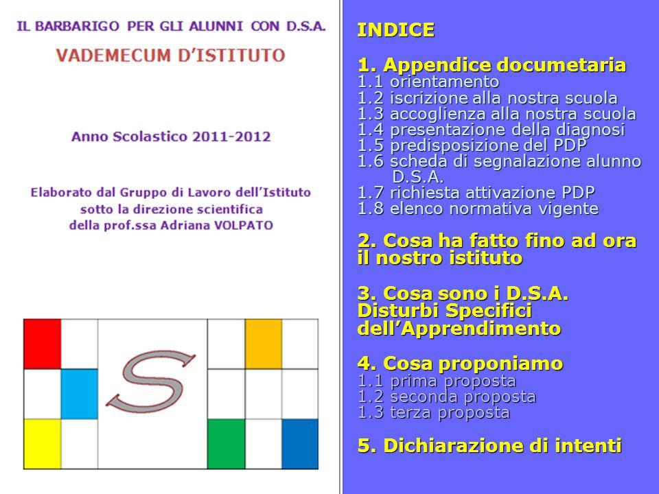 INDICE 1. Appendice documetaria 1.1 orientamento 1.2 iscrizione alla nostra scuola 1.3 accoglienza alla nostra scuola 1.4 presentazione della diagnosi