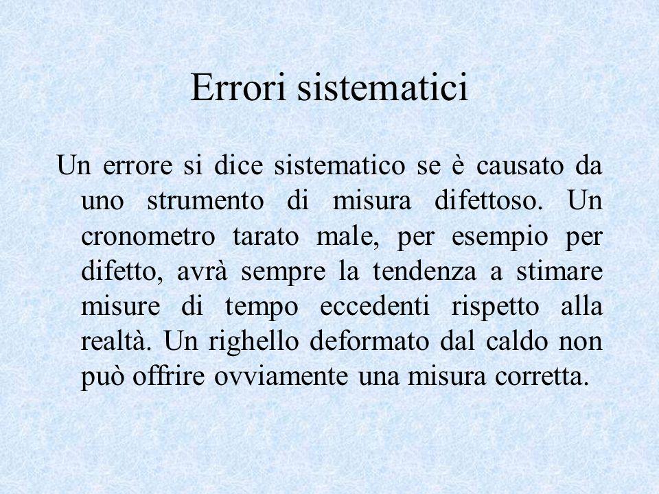 Errori sistematici Un errore si dice sistematico se è causato da uno strumento di misura difettoso. Un cronometro tarato male, per esempio per difetto