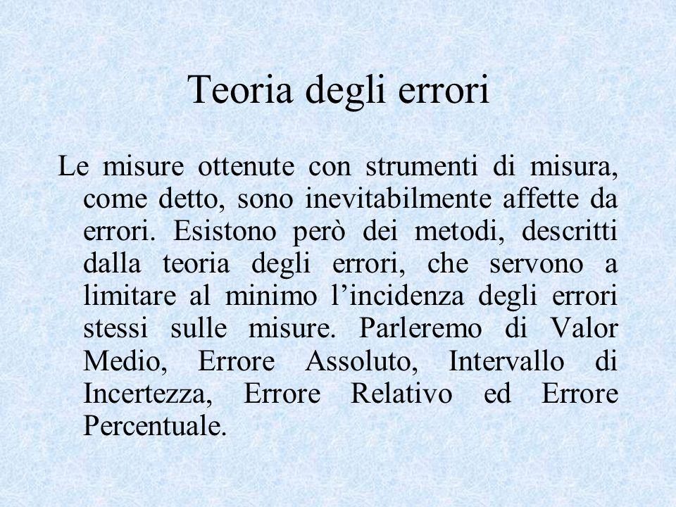 Teoria degli errori Le misure ottenute con strumenti di misura, come detto, sono inevitabilmente affette da errori. Esistono però dei metodi, descritt