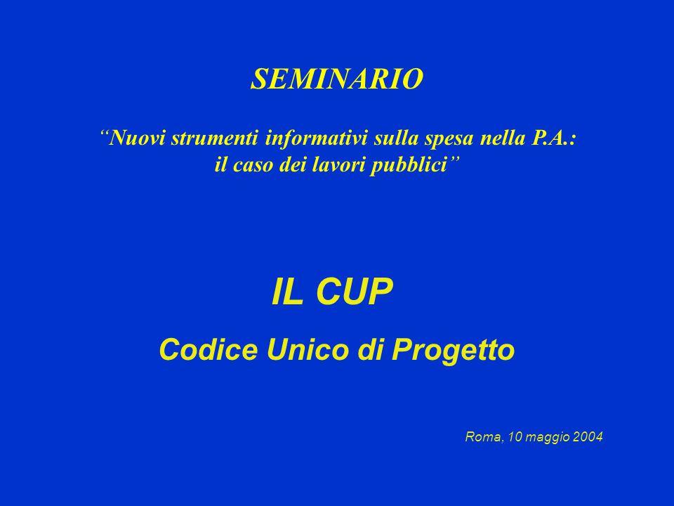 IL CUP Codice Unico di Progetto Roma, 10 maggio 2004 SEMINARIO Nuovi strumenti informativi sulla spesa nella P.A.: il caso dei lavori pubblici