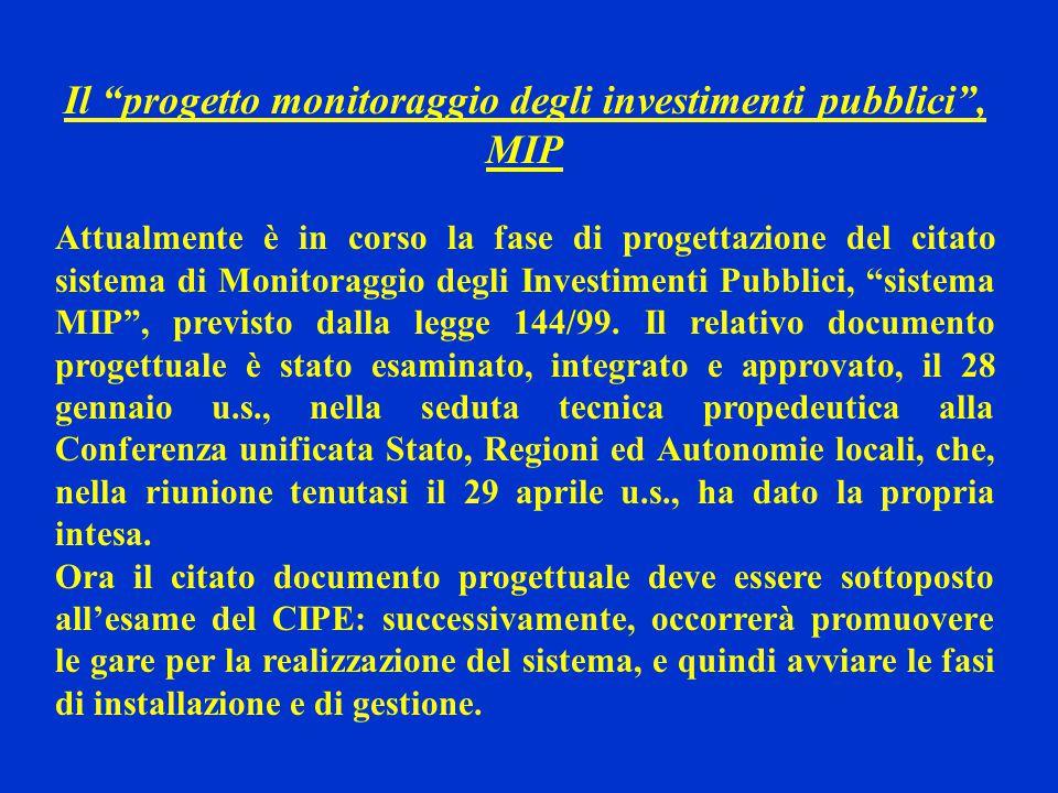 Il progetto monitoraggio degli investimenti pubblici , MIP Attualmente è in corso la fase di progettazione del citato sistema di Monitoraggio degli Investimenti Pubblici, sistema MIP , previsto dalla legge 144/99.