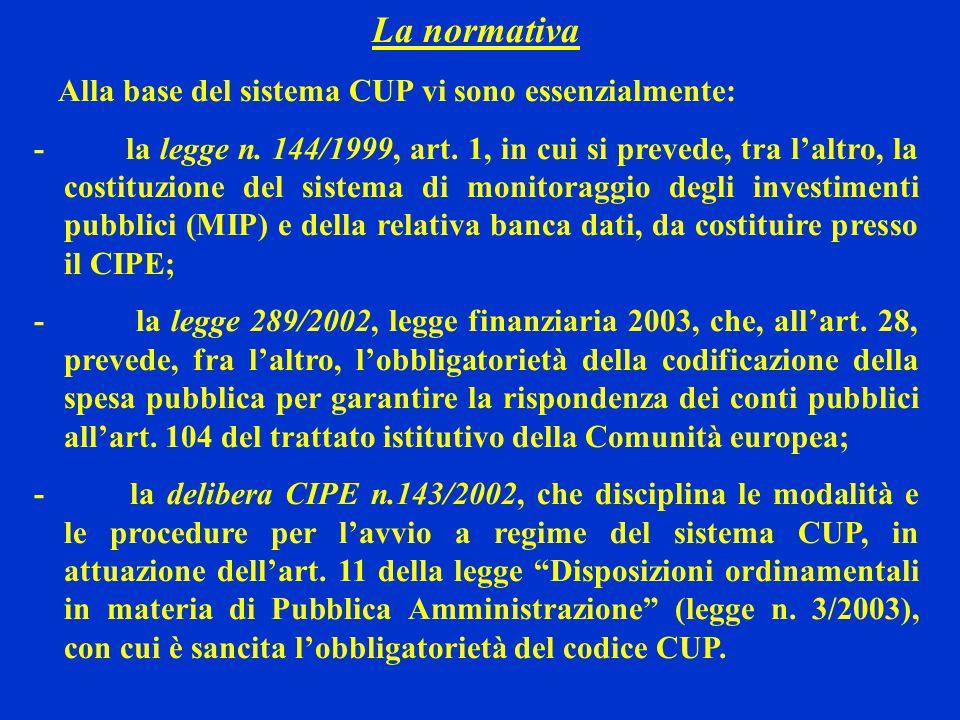 La normativa Alla base del sistema CUP vi sono essenzialmente: - la legge n.