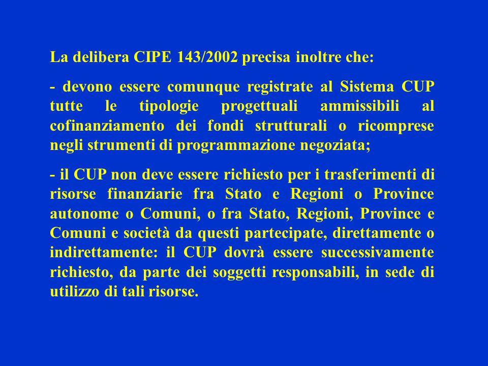 La delibera CIPE 143/2002 precisa inoltre che: - devono essere comunque registrate al Sistema CUP tutte le tipologie progettuali ammissibili al cofina