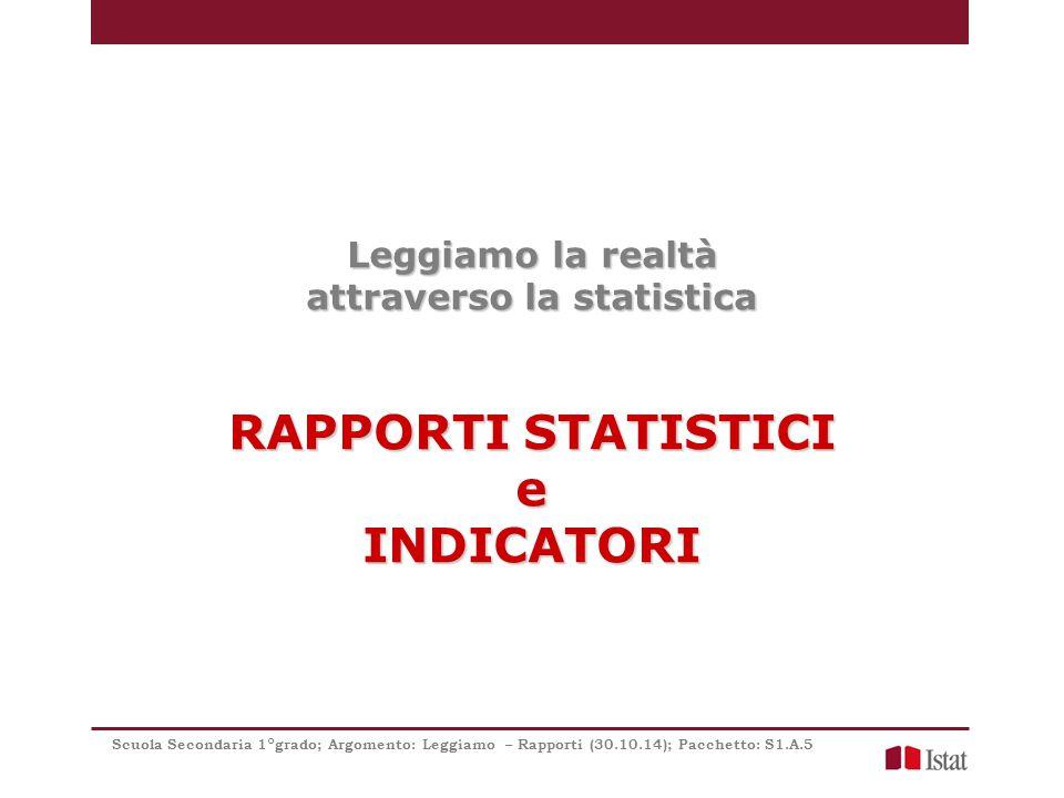 Leggiamo la realtà attraverso la statistica RAPPORTI STATISTICI eINDICATORI Scuola Secondaria 1°grado; Argomento: Leggiamo – Rapporti (30.10.14); Pacchetto: S1.A.5
