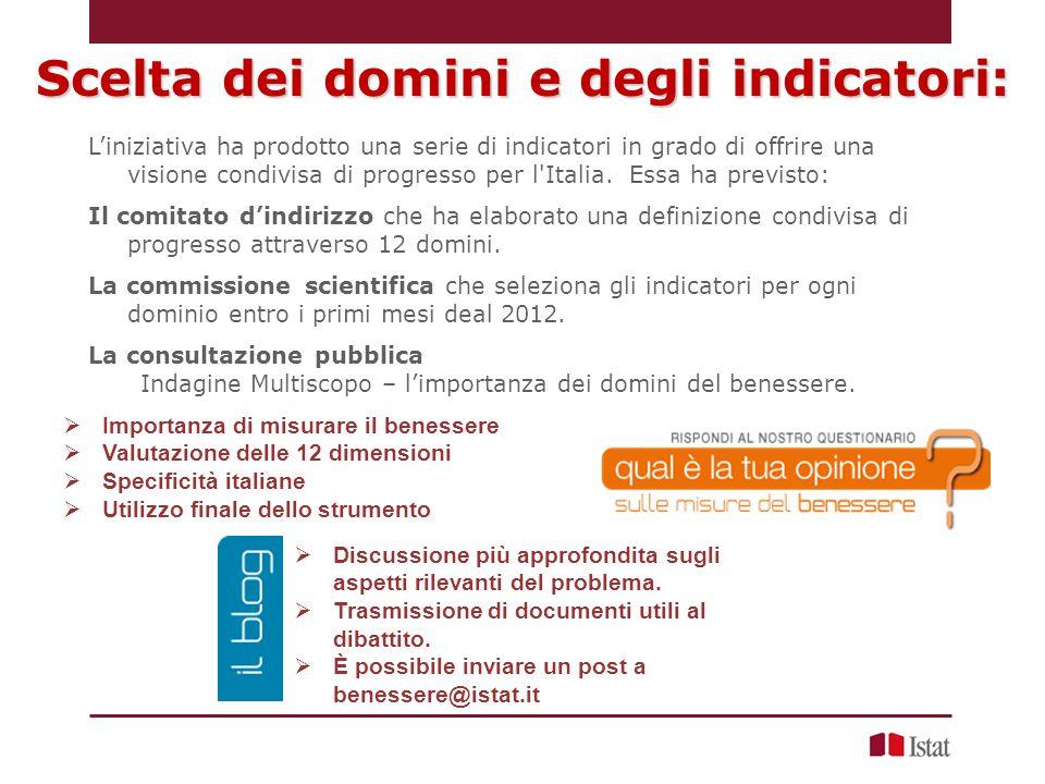 L'iniziativa ha prodotto una serie di indicatori in grado di offrire una visione condivisa di progresso per l Italia.