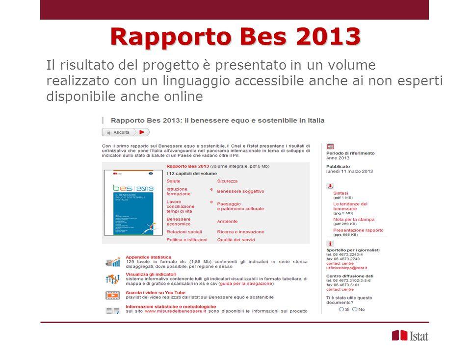 Rapporto Bes 2013 Il risultato del progetto è presentato in un volume realizzato con un linguaggio accessibile anche ai non esperti disponibile anche online
