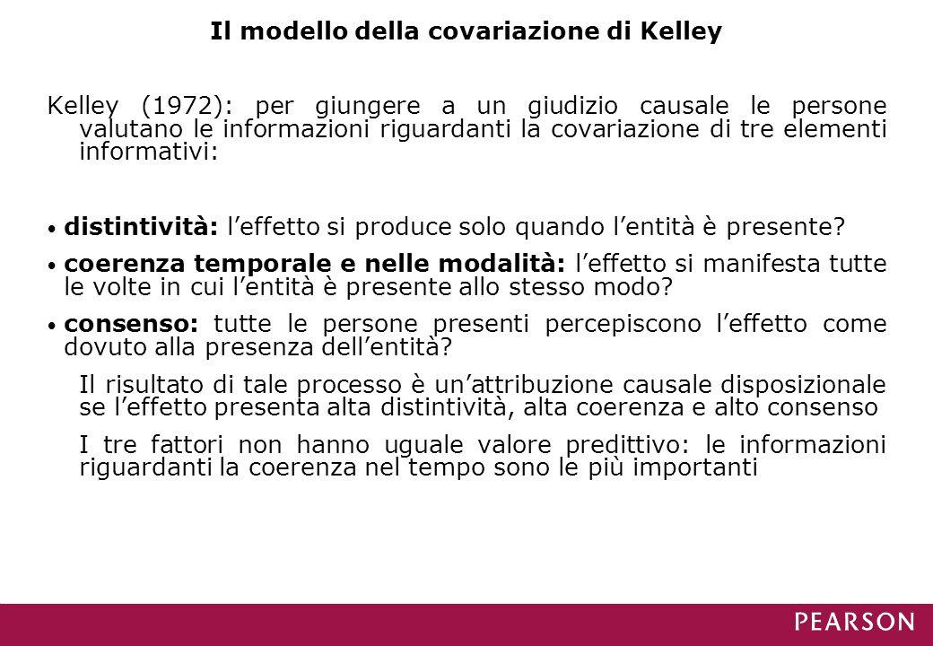 Il modello della covariazione di Kelley Kelley (1972): per giungere a un giudizio causale le persone valutano le informazioni riguardanti la covariazione di tre elementi informativi: distintività: l'effetto si produce solo quando l'entità è presente.